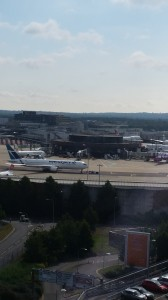 The view from my 9th floor room and airline!