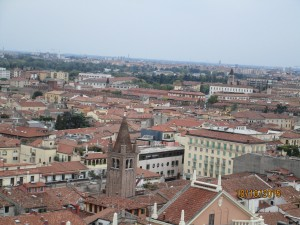 Overlooking Verona from the top of a tower, the home of Romeo and Juliet